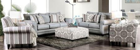 Misty SM8141-SFLVSCFCOT 5-Piece Living Room Sets with Sofa  Loveseat  Striped Accent Chair  Floral Acent Chair and Ottoman in Blue