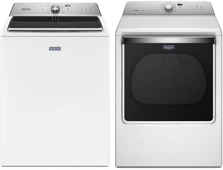 White Front Load Laundry Pair with MVWB865GW 28 inch  Washer 5.2 cu. ft. Capacity and MEDB835DW 29 inch  Electric