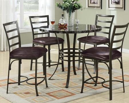 Daisy 70090BKT4C Bar Table Set with Counter Height Table + 4 Black Chairs in Antique Bronze