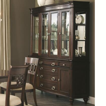 Alyssa Collection 105444 66 inch  China Cabinet with 4 Glass Doors  6 Drawers  2 Wood Doors  Turned Legs  Glass Shelves  Walnut Veneer  Asian and Poplar Hardwood