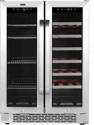 Whynter Cooler BWB-2060FDS 24 Built-in French Door Dual Zone 20 Bottle Wine Refrigerator 60 Can Beverage Center, Stainless Steel, One Size