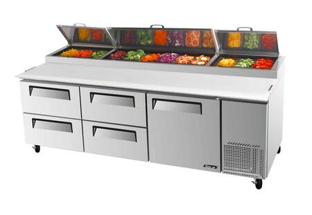 TPR93SDD4 31 cu.ft Pizza Prep Table with 4 Drawers  1 Door  Extra Deep Cutting Board  Stainless Shelving  Excellent Cooling System and Stainless Steel Cabinet