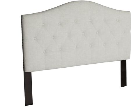 Naples Collection AU121041 Queen Size Headboard with Nail Head Trim  Button Tufted  Thick Flame Retardant Padding and Linen Upholstery in Pebble Beach