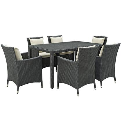 Sojourn Collection EEI-2312-CHC-BEI-SET 7-Piece Outdoor Patio Sunbrella Dining Set with 6 Armchairs and Dining Table in Antique Canvas