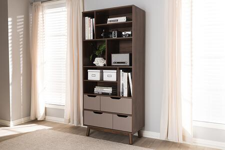 BC 1680-02-BROWN/GREY Baxton Studio Britta Mid-Century Modern Walnut Brown and Grey Two-Tone Finished Wood