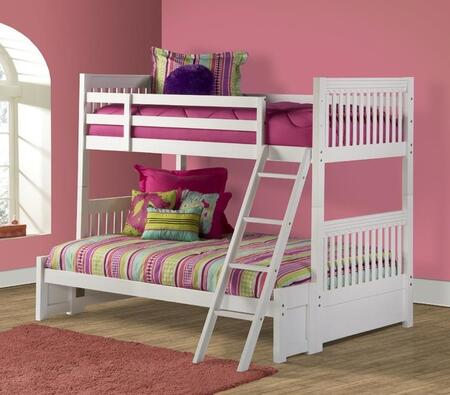 Lauren Collection 1528BBF Twin Over Full Size Bunk Bed with Ladder  Guardrails  Slatted Panels and Wood Construction in