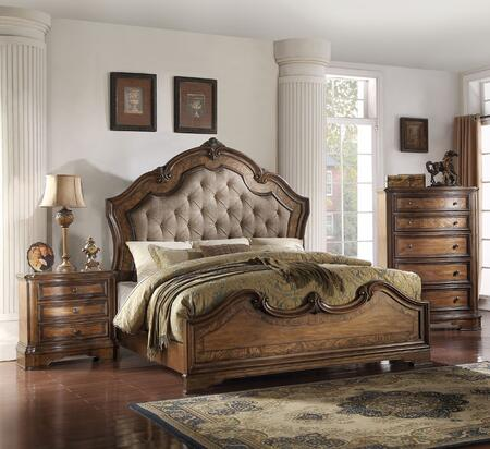 Valletta Collection 26164CK3SET 3 PC Bedroom Set with California King Size Bed  Chest and Nightstand in Latte Oak