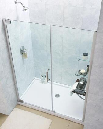 DL-6205R-04CL Elegance 34 In. D X 60 In. W Frameless Shower Door In Brushed Nickel With Right Drain White Acrylic Base