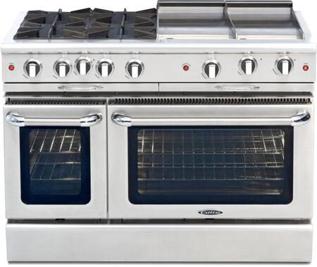 """Culinarian Series CGSR484GGN 48"""""""" Freestanding Gas Range with 4 Burners  4.6 cu. ft. Capacity  2 Convection Ovens & Auto/Re-Ignition  in Stainless Steel"""" 176041"""