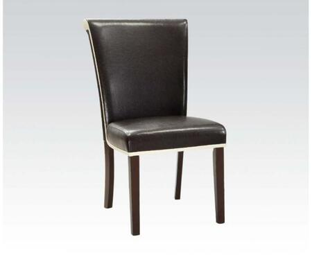 71532 Set of 2 Jafar Side Chairs with Espresso and Ivory PU Upholstery and Espresso