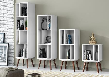 52360WS 4-Pieces Furniture Bundle Set with Small Cubby Bookcase + Medium Cubby Bookcase + large Cubby Bookcase + Tall Cubby Bookcase  in White