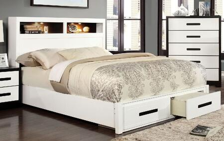 Rutger Collection CM7298F-BED Full Size Platform Bed with LED Lights Trim on Headboard  Grey Leatherette Headboard and High Gloss Lacquer Coating in White
