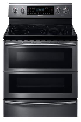 Samsung NE59J7850WG 30 Black Stainless Steel Electric Smoothtop Double Oven Range Convection