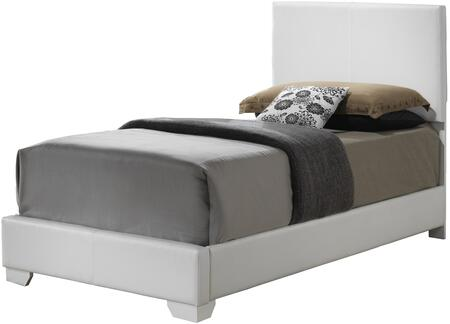 G1890-TB-UP Twin Size Panel Bed with Faux Leather Upholstery and Wood Construction in White