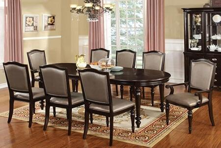 Harrington Collection CM3970T4GLSC2GLAC 7-Piece Dining Room Set with Rectangular Table  4 Side Chairs and 2 Arm Chairs in Dark Walnut