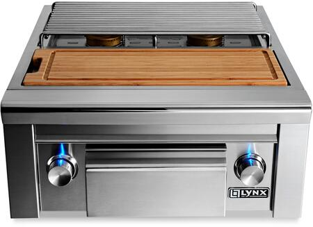 LSB2PC-1 15 000 BTU Natural Gas Built-In Double Side by Side Burners with Maple Cutting Board and Drawer  Hot Surface Ignition