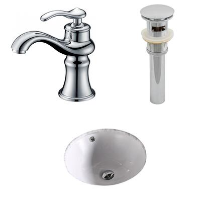 AI-13169 15.75-in. Width x 15.75-in. Diameter CUPC Round Undermount Sink Set In White With Single Hole CUPC Faucet And