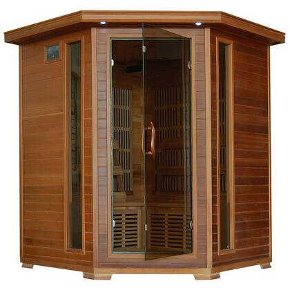 SA1320 Whistler 4 Person Cedar Corner Infrared Sauna with 10 Carbon Heaters  Bronze Tinted Tempered Glass Door  Oxygen Ionizer  EZTouch Cortrol Panel