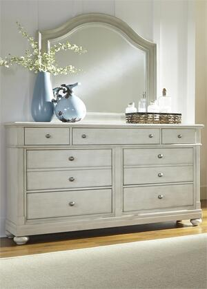 Harbor View III Collection 731-BR-DM 2-Piece Bedroom Set with Dresser and Mirror in Dove Gray