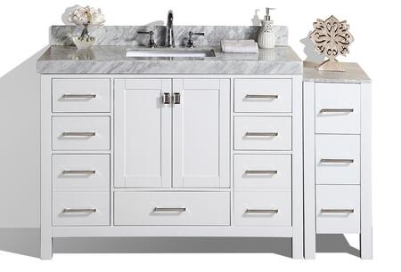 PVN-MALIBU-48-12-WH-UND 60 inch  Malibu White Single Modern Bathroom Vanity With Side Cabinet And White Marble Top With Undermount