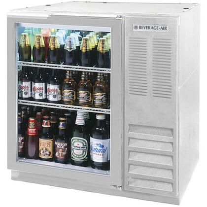 BB36G-1-S-27 36 inch  One Glass Door  Back Bar Refrigerator   8.8 cu. ft. Capacity  with Stainless Steel Exterior Finish  Side Mounted Compressor and 2 inch  Stainless