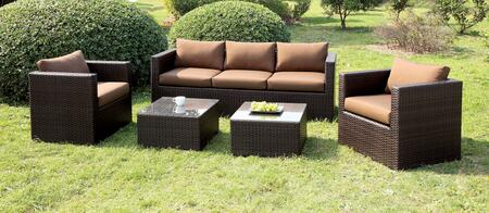 Olina CM-OS1820BR 5 Pc. Patio Set with Contemporary Style includes 2 Tables  Clear Tempered Glass Top  Brown or Ivory Fabric Seats in Brown Cushions/Espresso