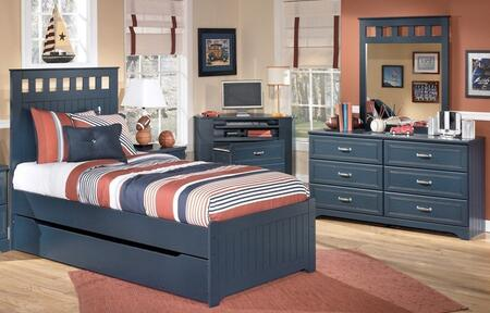 Leo Twin Bedroom Set with Panel Bed  Dresser  Chest and Mirror in