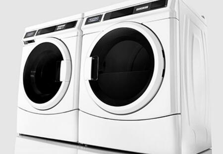 "White Front Load Laundry Pair with MHN33PRCWW 27"" Washer and MDE28PRCYW  27"" Electric"