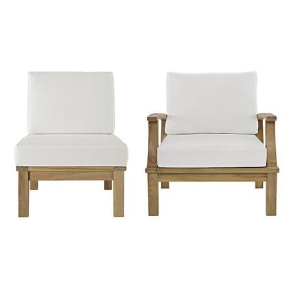Marina Collection EEI-1823-NAT-WHI-SET 2 PC Outdoor Patio Sofa Set with Solid Teak Wood Construction  Machine Washable Covers  Water and UV Resistant Cushions