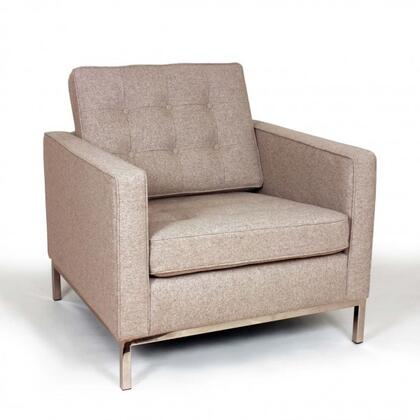 Draper FB2807WHEAT Lounge Chair with Button Tufting  Stainless Steel Legs and Fabric Upholstery in
