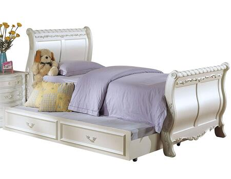 Pearl Collection 01010T Twin Size Sleigh Bed with Ornate Decorative Carvings  Box Spring Required and Poplar Wood Construction in Pearl White