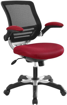 Edge Collection EEI-594-RED Office Chair with Adjustable Seat Height  Flip-Up Arms  Casters  Tilt Tension Control  Mesh Backrest  Sponge Seat and Fabric Seat