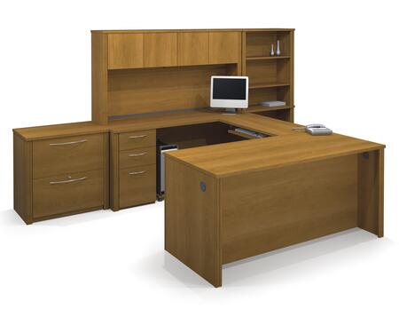 60860-68 Embassy U-Shaped Worksation and Accessories Kit with Scratch and Stain Resistant Surface and Simple Pulls in Cappuccino