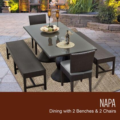 NAPA-RECTANGLE-KIT-2C2B-C-GREY Napa Rectangular Outdoor Patio Dining Table With 2 Chairs and 2 Benches with 2 Covers: Wheat and