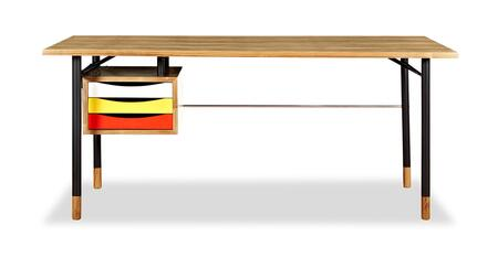 DESK-THEORY-ASH-YEL Color Theory Mid-Century Modern 3-Drawer Writing Desk 67