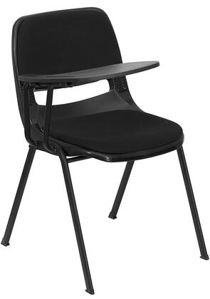RUT-EO1-01-PAD-RTAB-GG Padded Black Ergonomic Shell Chair with Right Handed Flip-Up Tablet