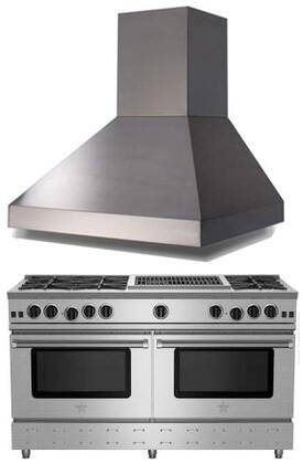 """BlueStar 2 Piece Kitchen Package with RNB606CBV2 60"""" Gas Freestanding Range and BSPC60240TS 60"""" Wall Mount Range Hood in Stainless"""