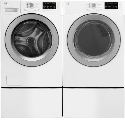 White Front Load Laundry Pair with 26-41262 27 Washer  26-91182 27 Gas Dryer and 2x 26-51122 Laundry
