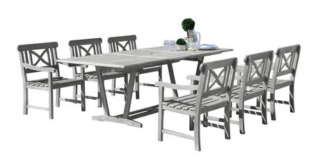 V1294SET17 Renaissance Outdoor 7-Piece Hand-Scraped Wood Patio Dining Set With Extension