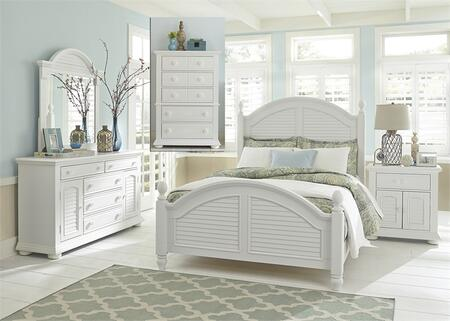 Summer House I Collection 607-BR-KPSDMCN 5-Piece Bedroom Set with King Poster Bed  Dresser  Mirror  Chest and Night Stand in Oyster White