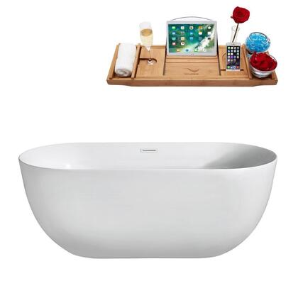N80067FSWHFM 67 inch  Soaking Freestanding Tub with Internal Drain  Chrome Color Drain Assembly  158 Gallons Water Capacity  and Acrylic/Fiberglass Construction  in