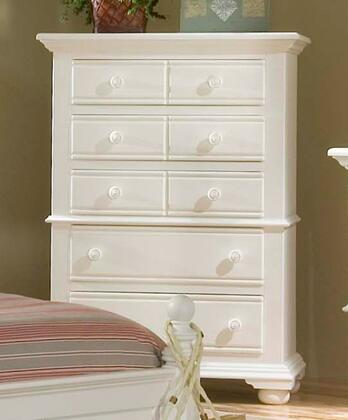 Cottage Traditions 6510-150 5 Drawer Chest with Molding Details  Simple Pulls and 2 Doors in Eggshell