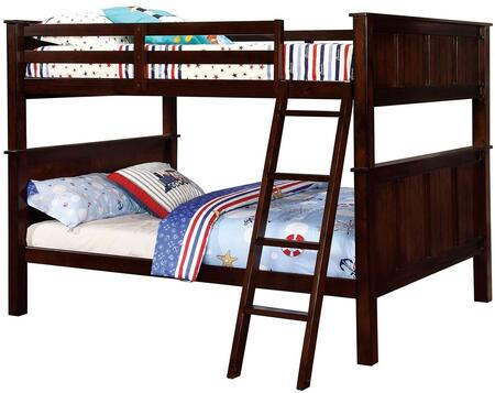 Gracie Collection Bunk Bed CM-BK930FF-BED Full over Full Size with Angled Ladder  Slat Kit Included  Solid Wood and Wood Veneer Construction in Dark Walnut