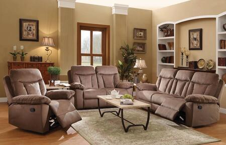 Elisha 51425SLR 3 PC Living Room Set with Sofa + Loveseat + Recliner in Chocolate