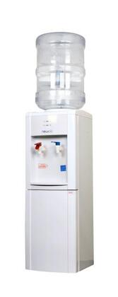 WCD-200W Hot and Cold Bottled Water Dispenser with 2 Water Temperatures  Stainless Steel Reservoirs  Storage Compartment  and Dual Hot Water Child Safety