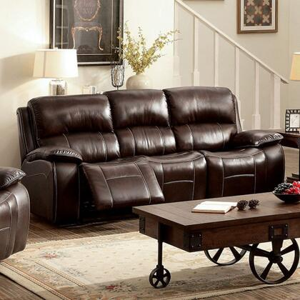 Ruth CM6783BR-SF Sofa with Transitional Style  Plush Cushions  Cup Holders and Storage  Recliners in 783797