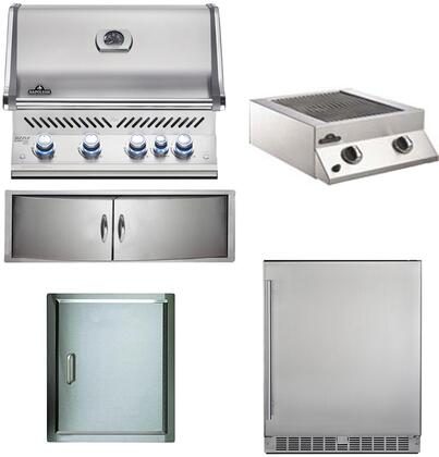 5-Piece Stainless Steel Outdoor Kitchen Package with BIPRO500R0BNSS2 31 inch  Natural Gas Grill  BISB245PFT 20 inch  Side Burner  NFR055ORSS 35 inch  Outdoor Refrigerator