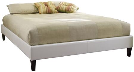 DSHOLCOWDB Holcomb White Fabricated Leather Upholstered Platform Bed Frame Full