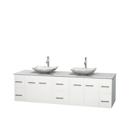 WCVW00980DWHWSGS6MXX 80 in. Double Bathroom Vanity in White  White Man-Made Stone Countertop  Arista White Carrera Marble Sinks  and No