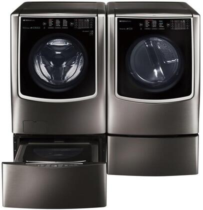 Black Stainless Steel Washer and Dryer Package with WM9500HKA Washer  DLEX9500K Electric Dryer  WDP5K Pedestal  WD205CK SideKick Washer Pedestal and AM501YWM1